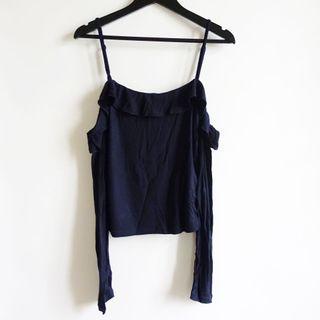 澳洲品牌COTTON ON深藍色素面彈性棉質羅紋一字領露肩細肩帶平口長袖上衣S號