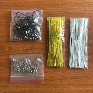 Craft Supplies - Twist Ties, Safety Pins, Handphone Strap
