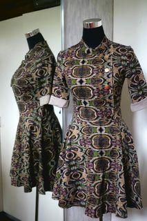 Dries Van Noten Retro Pattern Dress with gold buttons