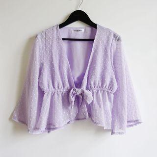 Girl's Monday紫色點點雪紡V領喇叭寬袖短袖娃娃裝上衣