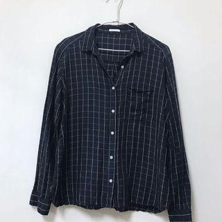 GU日本購入藏青格紋百搭襯衫 極新 L