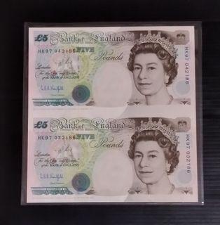 HK97 prefix, 1997 bank of england $5, 2 in 1 uncut sheet, UNC