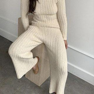 Kordal Studio Florence Ribbed Pant Cream Cotton High Waist Wide Leg Knit Sweater Pants Slow Fashion