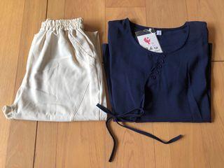 LANNI藍尼 寬鬆休閒文藝風上衣+哈倫褲  兩件套裝#支持