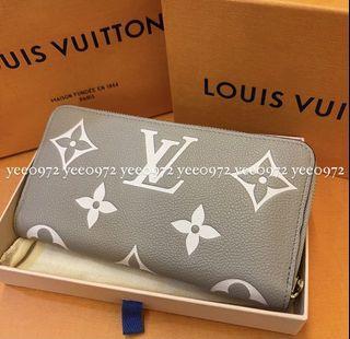 7/25降價售絕美斑鳩灰 正品Louis Vuitton LV M69794拉鍊長夾 拉鍊錢包 壓紋 奶茶色長夾