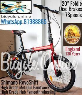 """Raleigh-PHILLIPS 20"""" Foldie, Shimano RevoShift 7Speeds, Disc Brakes ✩ Premium Hubs, excellent wheeling! ✩ compact, fits nicely into car boots! ✩ allowed on public transport ✩ Brand New Foldable Bicycle / Folding Bike"""