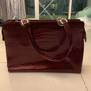 Shoulder bag tas maroon croco