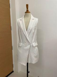 White vest shorts romper