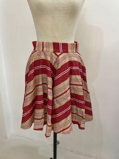 Zara red stripy skirt