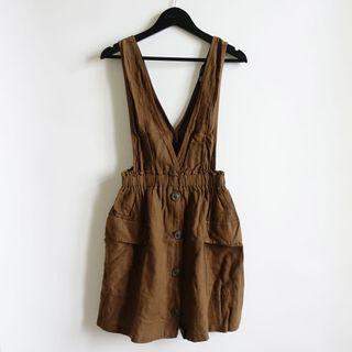 ZARA咖啡色棉麻材質大V領吊帶短裙洋裝XS號