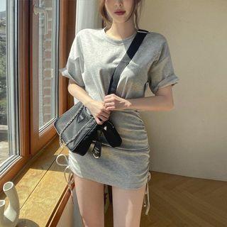 高腰包臀假兩件短袖洋裝連衣裙/黑色
