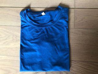百搭 藍色純棉 女T恤#支持