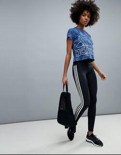全新 adidas 愛迪達 女大人logo款 機能 長褲 瑜珈褲 緊身褲 跑褲 1002 M號 吊牌未剪