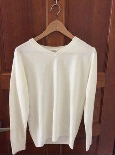 (全新)純白色 V領 上班族外搭針織衣