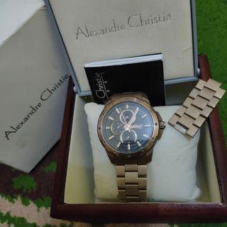 Alexandre Christie AC 6538 MF BBNBA Men Black Dial Gold Brown Stainless Steel Strap