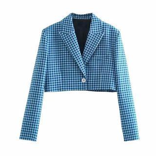 Blue Crop Blazer