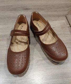 Brown Pleather Strapped Moccasin