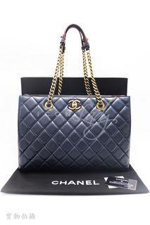 CHANEL A67248 深藍色菱格車線小羊皮 雙C扣 手挽袋 肩背袋 購物袋手袋