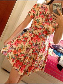 Floral Dress Flowers Casual Party Cream Beige Tan Stylish