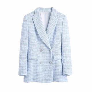 Long Blue Tweed Blazer