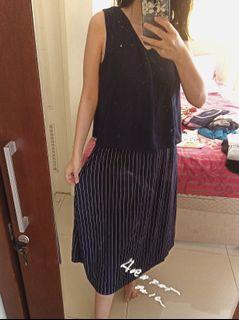 Mididress Long dress v-neck Sleeveless Navy Stripes