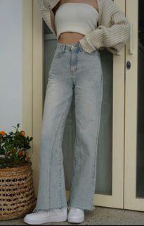 Miyuki Select 拼接造型長腿直筒牛仔褲 S
