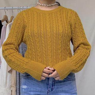 Mustard cable knit by earth music&ecology