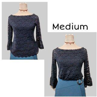 SHOP FOR A CAUSE | Navy Blue Lace Longsleeves