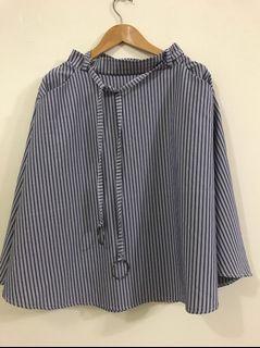 SWEESA 水莎 氣質 藍白 直條 鬆緊 A字裙 圓裙 (附金屬圓圈腰帶)