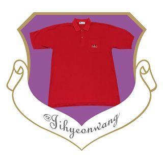 Vintage 古著 POLO衫 寬鬆 電繡 圖騰 短袖 上衣 古著上衣 素面 素色 紅色 小LOGO @下課來玩吧