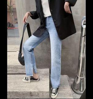 (全新)復古水洗淺藍色高腰褲