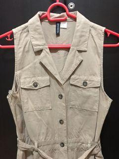 Brown/nude sleeveless h&m linen dress