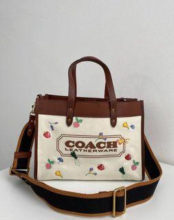 Coach Field Tote with Garden Embroidery Coach Badge