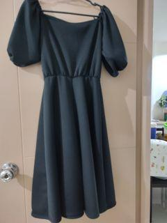 For sale black gown puff sleeve knee length dress