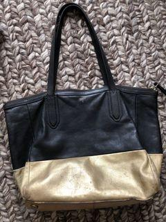 Fossil Black and Gold Genuine Leather Shopper Tote Laptop Document Bag