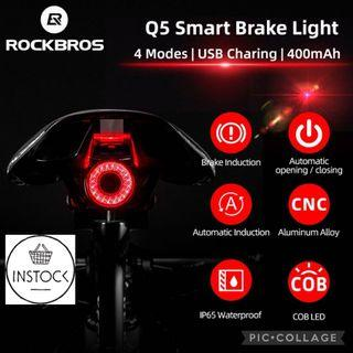 🚀INSTOCK Q5 ROCKBROS BicycleTaillight Smart Bike Brake Sensing Light Auto Start&Stop LED