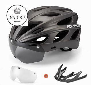 🚀INSTOCK ROCKBROS Bike Cycling Helmets MTB Road Bike Helmets With Magnetic Glasses57-62CM