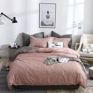 極新【JEN】簡約素色床單被套枕套4件組-可可粉色(單人或雙人床通用)