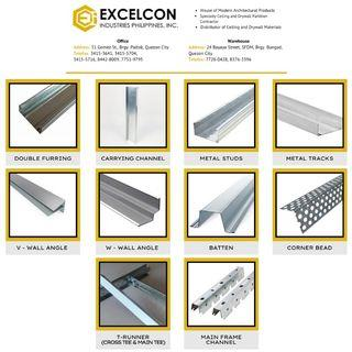 METAL FRAMINGS (Double Furring Channel, Carrying Channel, Studs, Tracks, Wall Angle, and Main Frame Channel)