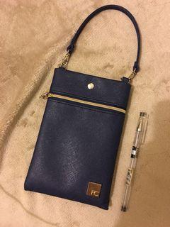 Navy Blue wristlet / pouch / wallet with pink linings
