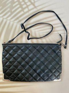 Topshop Real Leather quilted crossbody bag