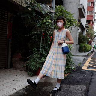 日式馬卡龍色格紋洋裝🔥賣場商品任選2件9折 3件85折 古著vintage🔥