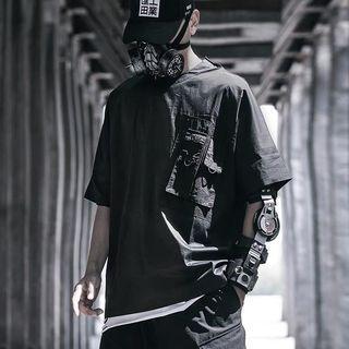 【 Gshop.】夏季新款暗黑工裝短袖側口袋男寬鬆抽繩圓領純色T恤半袖