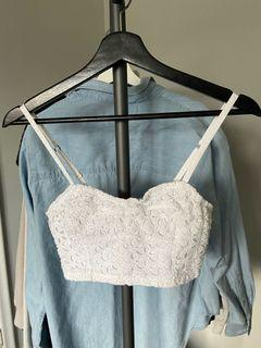 Abercrombie & Fitch White Floral Crop Top Small