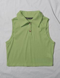 green ribbed half button down cropped collared tank top