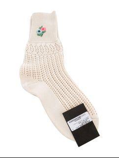 全新Gucci 刺繡小花米白色襪子,S號