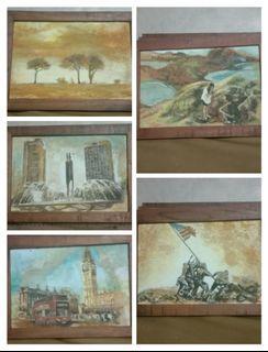 Lukisan serbuk kayu take all 5 buah