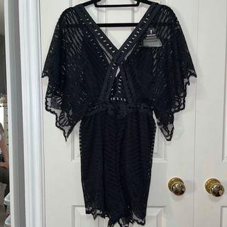 Rare London black lace romper