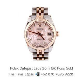 Rolex Datejust Lady 26m, Diamonds Index Salmon Computer Dial Steel & 18K Rose Gold 'V'