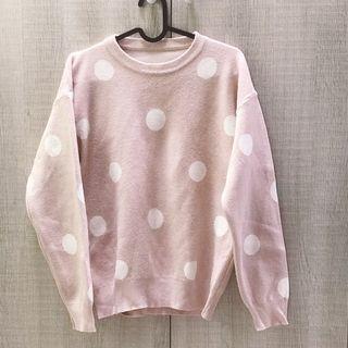 粉色點點針織上衣